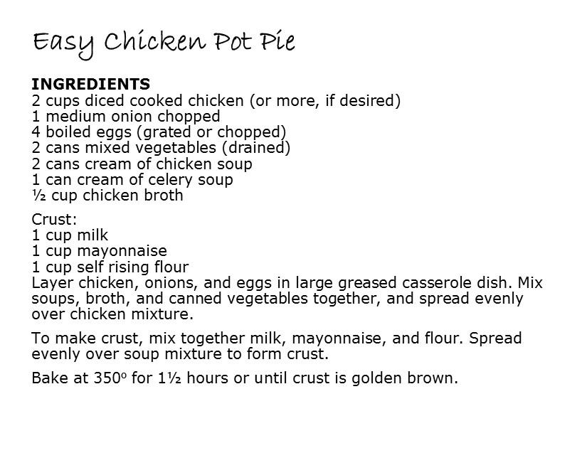 chicken pot pie recipe to convert