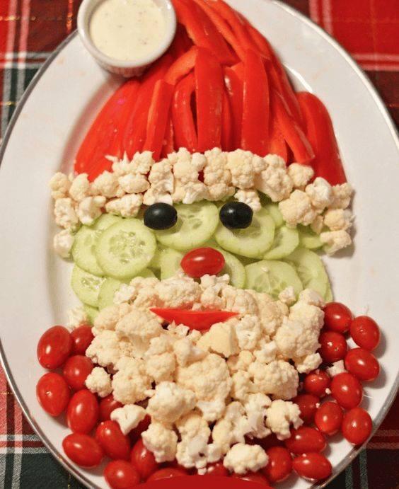 santa veggie vegetable tray plate